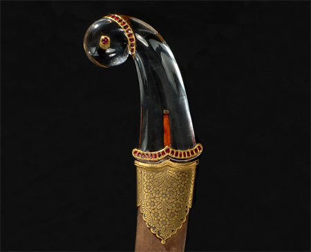 Dagger (khanjar) as stylized parrot with scabbard - Detailed View