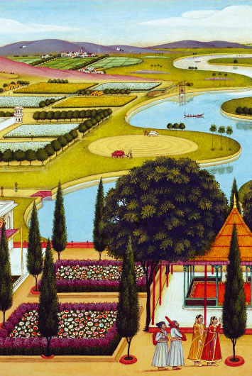 Palace garden in a river landscape (Detailed View)